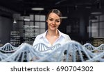 her biochemistry research and... | Shutterstock . vector #690704302