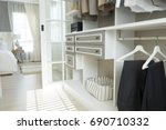closet with cloth and shelf at... | Shutterstock . vector #690710332