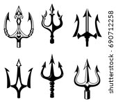 set of trident icons isolated... | Shutterstock .eps vector #690712258