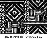 Seamless geometric pattern in Aztec style. Tribal ethnic vector texture. African drawing markers. Figure tribal embroidery. Indian, Mexican, folk pattern. | Shutterstock vector #690723532