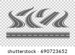 set of bending roads and... | Shutterstock .eps vector #690723652