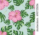 seamless pattern with tropical... | Shutterstock .eps vector #690725056