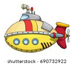 cute colorful submarine ... | Shutterstock .eps vector #690732922