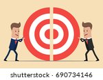 two businessmen pushing a... | Shutterstock .eps vector #690734146