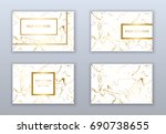 set of white and gold business... | Shutterstock .eps vector #690738655