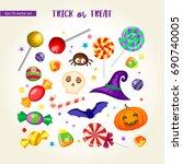 set of trick or treat vector... | Shutterstock .eps vector #690740005