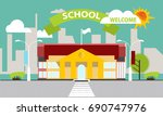 school building against the...   Shutterstock .eps vector #690747976