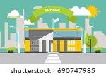 school building against the... | Shutterstock .eps vector #690747985
