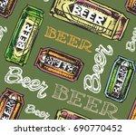 hand drawn doodle beer set.... | Shutterstock .eps vector #690770452