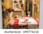 blur dinner room and kitchen... | Shutterstock . vector #690776116