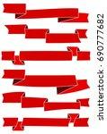 set of six red cartoon ribbons... | Shutterstock . vector #690777682