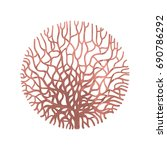 graphic coral circle painted... | Shutterstock .eps vector #690786292