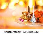 hindu ceremony. puja   offering ... | Shutterstock . vector #690806332