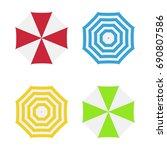 set of beach umbrellas. top... | Shutterstock .eps vector #690807586