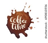 coffee time hand drawn...   Shutterstock . vector #690810556