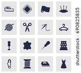 set of 16 sewing icons set... | Shutterstock .eps vector #690825835