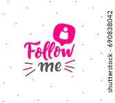social media banner follow me... | Shutterstock .eps vector #690838042