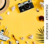 flat lay traveler accessories... | Shutterstock . vector #690839362