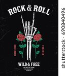 rock music graphic design with... | Shutterstock .eps vector #690840496