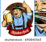 man holding glass of beer in... | Shutterstock .eps vector #690840565