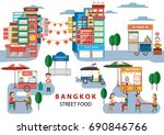 street food in bangkok  ... | Shutterstock .eps vector #690846766