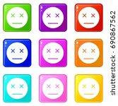 dead emoticons of 9 color set... | Shutterstock . vector #690867562