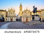 Piazza San Carlo square and twin churches of Santa Cristina and San Carlo Borromeo in the Old Town center of Turin, Italy, on sunrise