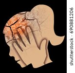 woman depression headache.... | Shutterstock . vector #690881206