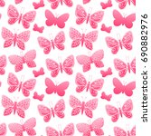 butterfly silhouette color.... | Shutterstock . vector #690882976