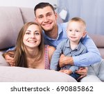 young mother and father with... | Shutterstock . vector #690885862