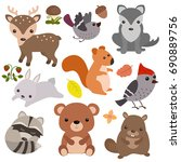 forest animals vector set of... | Shutterstock .eps vector #690889756