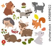 forest animals vector set of... | Shutterstock .eps vector #690889822