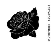silhouette of a rose in a... | Shutterstock .eps vector #690891835