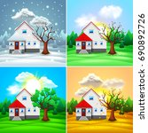house and nature four seasons... | Shutterstock .eps vector #690892726