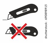 cutter knife icon set | Shutterstock .eps vector #690898915