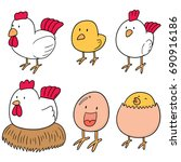 vector set of chicken and egg | Shutterstock .eps vector #690916186