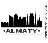 almaty skyline silhouette city... | Shutterstock .eps vector #690917332