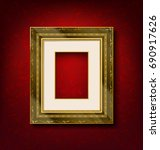 vintage gold picture frame on... | Shutterstock .eps vector #690917626