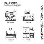 real estate  square mini icon... | Shutterstock .eps vector #690930022