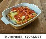 Stock photo vegetable lasagna with zucchini italian cuisine 690932335