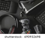 gamer workspace concept  top... | Shutterstock . vector #690932698