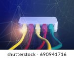 router wireless lan wire with... | Shutterstock . vector #690941716