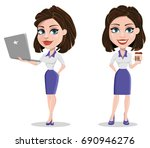 beautiful business woman... | Shutterstock .eps vector #690946276