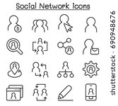 social network icons in thin... | Shutterstock .eps vector #690948676