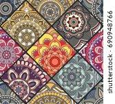 seamless pattern. vintage... | Shutterstock .eps vector #690948766