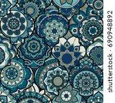 seamless pattern. vintage... | Shutterstock .eps vector #690948892