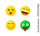 set of cute smiley emoticons.... | Shutterstock .eps vector #690951082