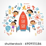 the concept of modern education.... | Shutterstock .eps vector #690955186