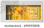 autumn sale window display with ... | Shutterstock .eps vector #690955858