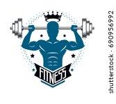 bodybuilding weightlifting gym... | Shutterstock .eps vector #690956992